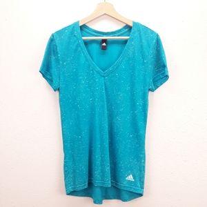 Adidas turquoise speckled vneck short sleeve shirt